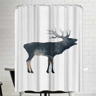 Annie Bailey Elk And Forest Single Shower Curtain