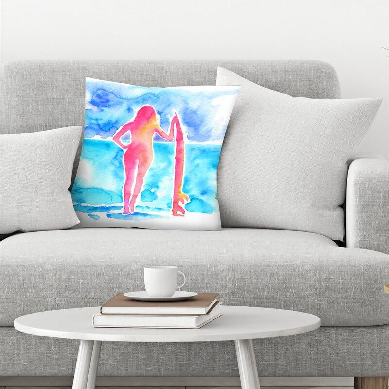 East Urban Home Surfer Girl Throw Pillow Wayfair