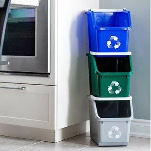 Mobius Loop 3 Piece 6 Gallon Curbside Trash Recycling Bin Set