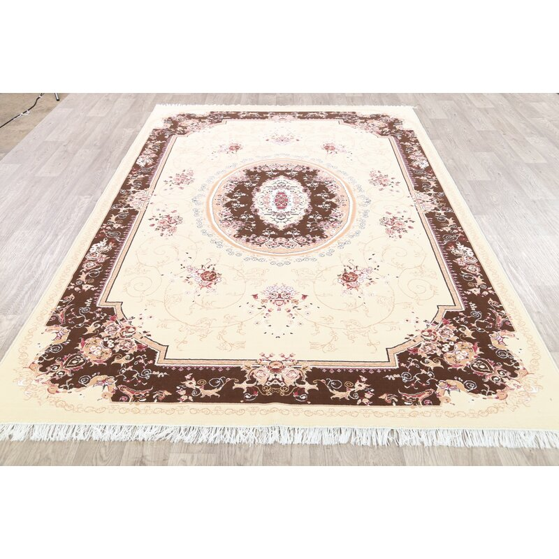 Astoria Grand Schilling Tabriz Persian Beige Ivory Area Rug Wayfair