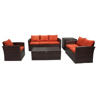 Marisa 5 Piece Rattan Sofa Seating Group (Set of 5)