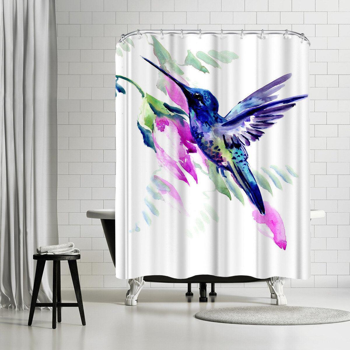 East Urban Home Suren Nersisyan Hummingbird And Pink Flowers Single Shower Curtain Wayfair