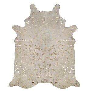 Devore Hand-Woven Ivory/Matte Gold Area Rug