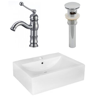 Order Ceramic 16 Wall Mount Bathroom Sink with Faucet and Overflow ByAmerican Imaginations