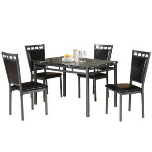 Chittening Marble And Metal 5 Piece Dining Set