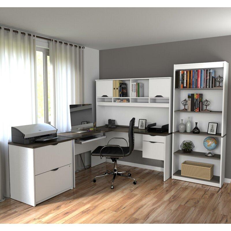 Symple Stuff Altha 3 Piece Office Set With Hutch Reviews Wayfair