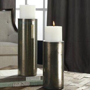 Iridescent 2 Piece Glass Candlestick Set
