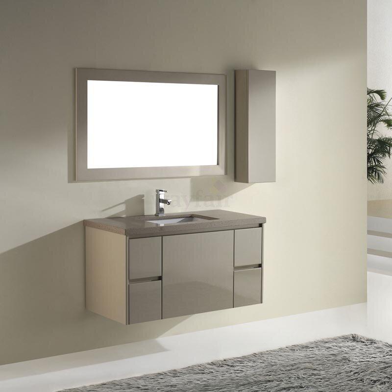 """bauhaus bath barros 42"""" single bathroom vanity set with mirror"""