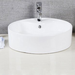Affordable Brook Ceramic Circular Undermount Bathroom Sink with Overflow By Safavieh