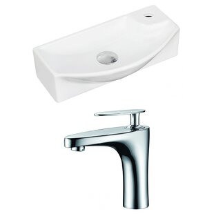 Best Reviews Ceramic 17.75 Wall Mount Bathroom Sink with Faucet ByRoyal Purple Bath Kitchen