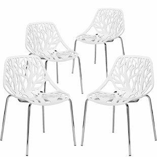 Leipzig Stacking Side Chair in White Set of 4
