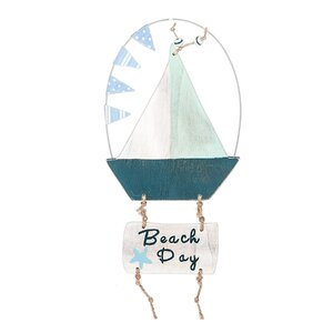 Beach Day Sail Boat Hanging Figurine