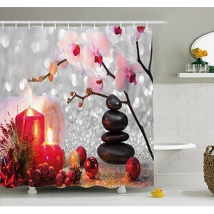Online Reviews Spa Winter Christmas Theme with Orchid Stone and Candles Image Shower Curtain Set ByAmbesonne