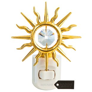 Matashi Crystal 24K Gold Plated Crystal Studded Sun LED Night Light