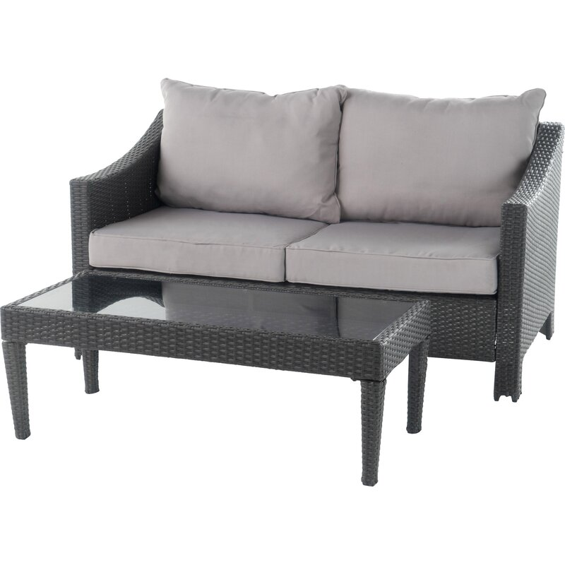 Sol 72 Outdoor  Portola 2 Piece Conversation Set with Cushions Color: Gray