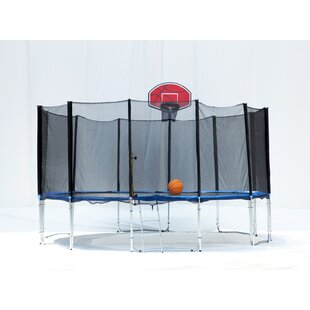 Exacme Exacme 16' Round Trampoline with Safety Enclosure Net and Basketball Hoop