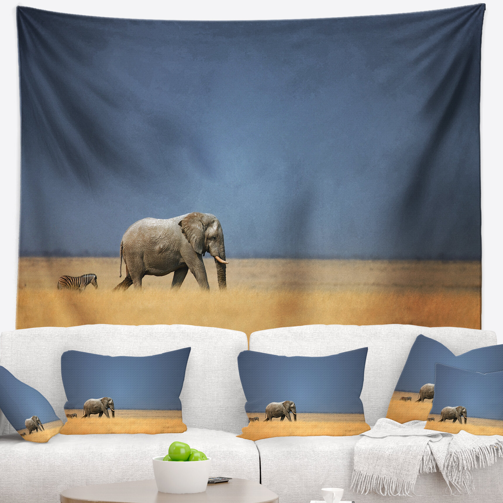 East Urban Home African Elephant and Zebra Walking in Bush Tapestry ...