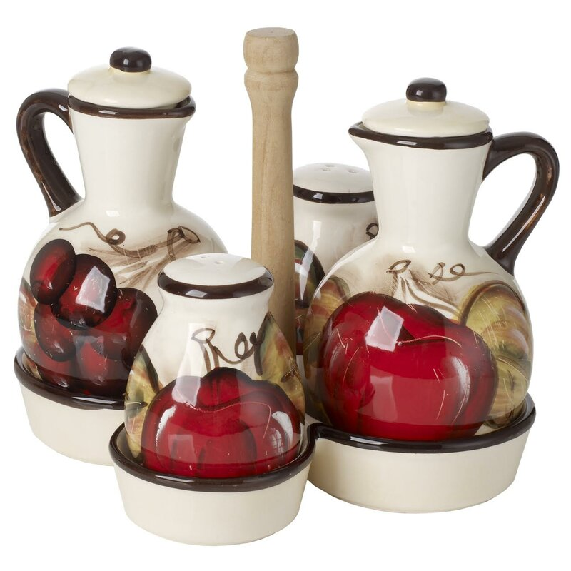 Ceramic Oil And Vinegar Bottle Condiment Set With Caddy