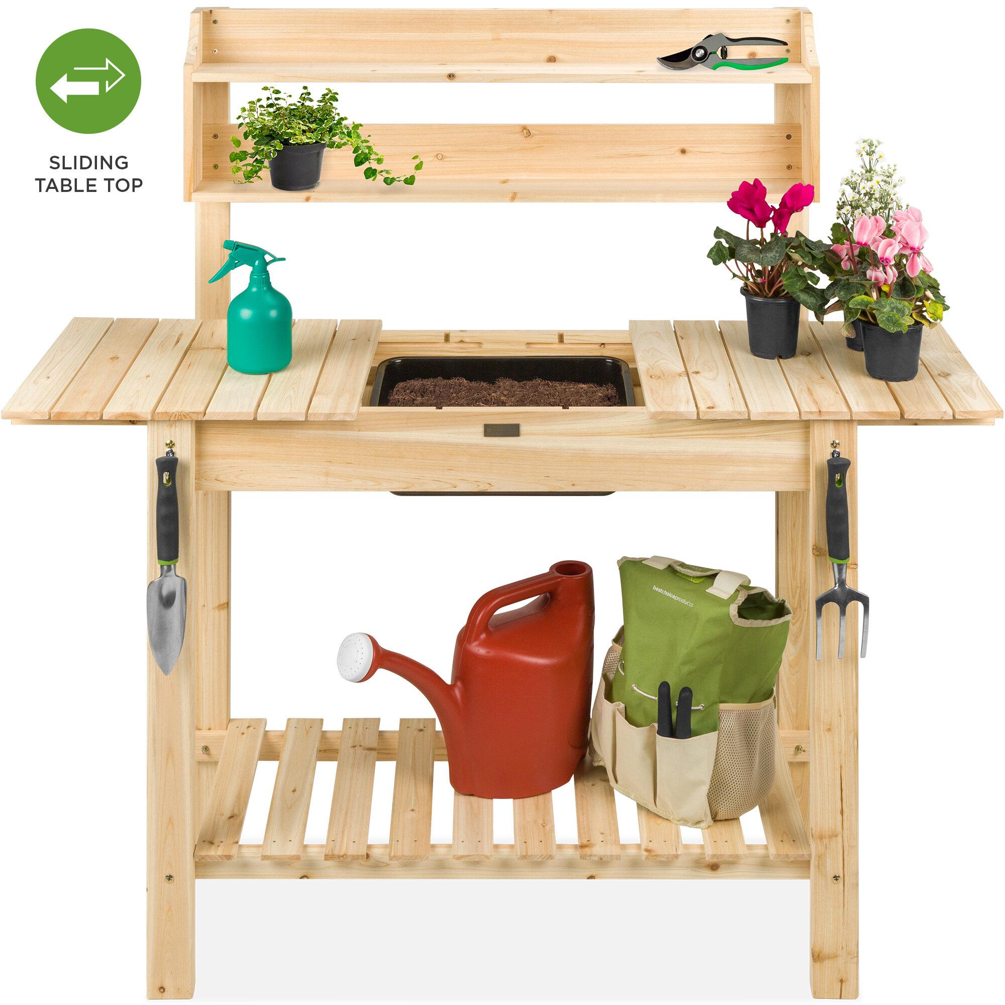 Arlmont Co Sharpe Garden Fir Potting Bench Reviews Wayfair