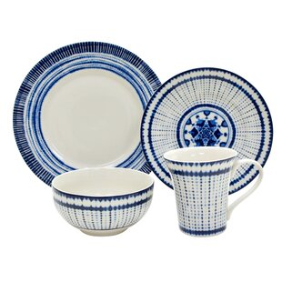 Shibori 16 Piece Dinnerware Set, Service for 4