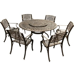 Fleur De Lis Living Casner Ornate Traditional Mesh Lattice 7 Piece Dining Set