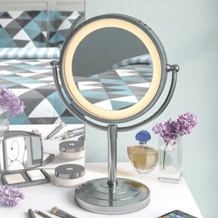 Compare prices Halo Lighted Tabletop Vanity Mirror By Symple Stuff