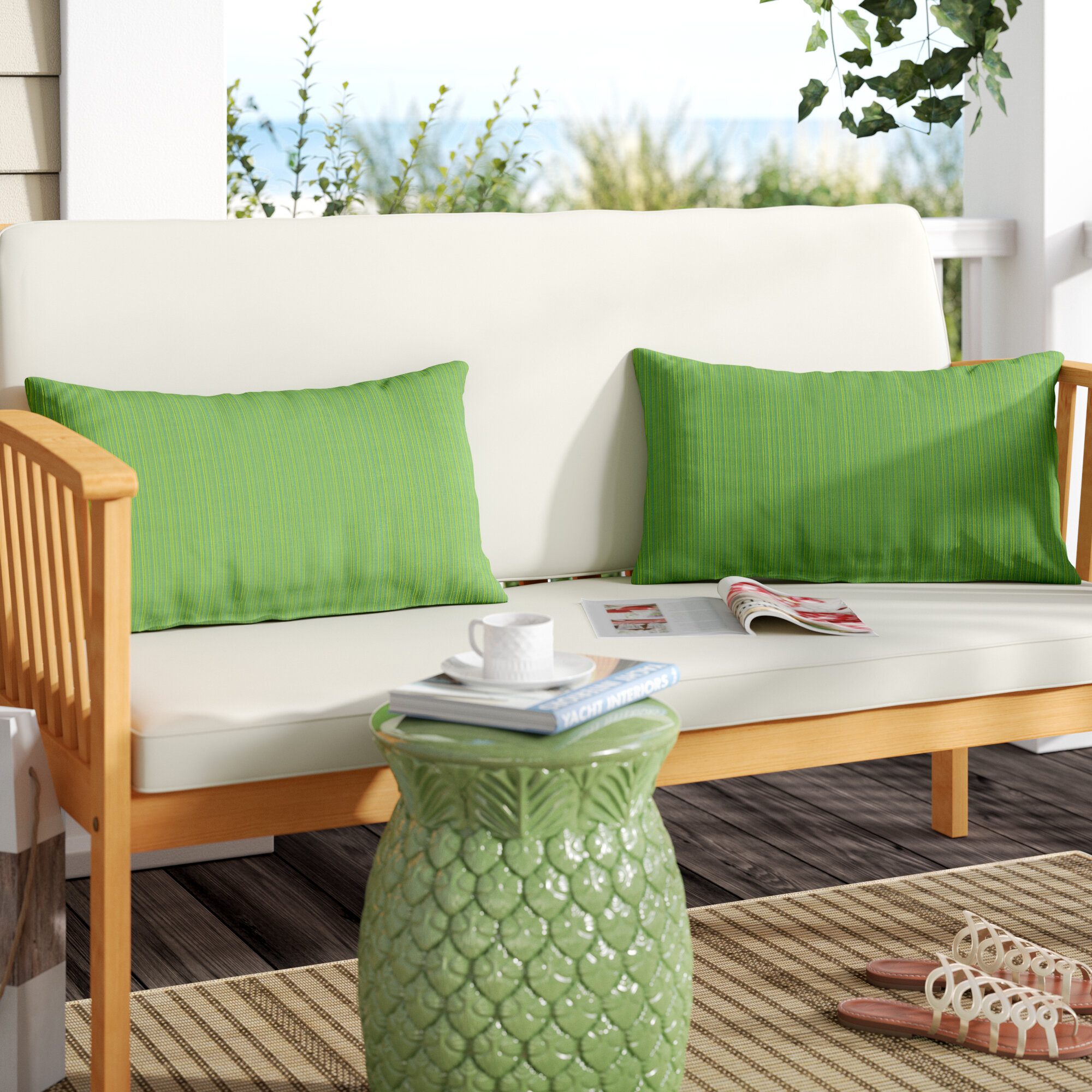 Canvas Forest Green And Canvas Natural Set Of 2 Mozaic Company Sunbrella Indoor Outdoor Corded Pillows Decorative Pillows