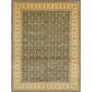 Order One-of-a-Kind Huntingdon Hand-Knotted  16'7 x 22'3 Wool Dark Gray/Beige Area Rug By Isabelline