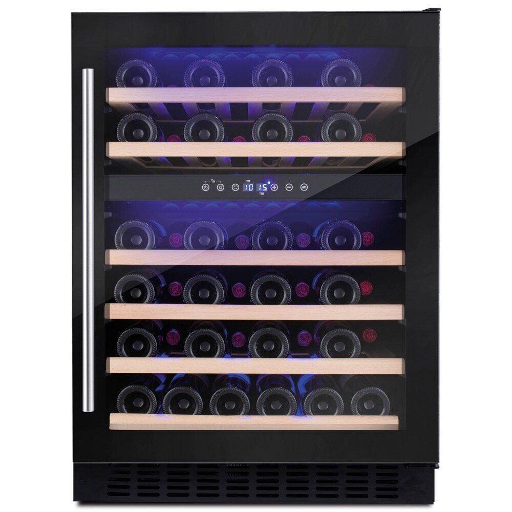 600 MM Freestanding Wine Cooler, 46 Bottle Capacity, Dual Electronic Temp Controlled Zones 5-20, Black Glass