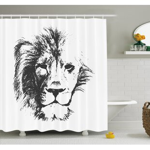 Tattoo The King of the Jungle Pencil Drawing Handmade Majestic Lion Head Image Shower Curtain Set