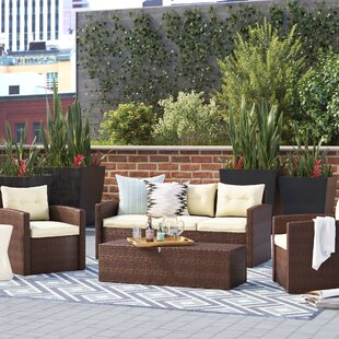 Sanor 4 Piece Sofa Set with Cushions By Wrought Studio