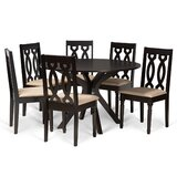 Shue 7 - Piece Rubberwood Solid Wood Dining Set by Alcott Hill®