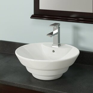 Big Save Vitreous China Circular Vessel Bathroom Sink with Overflow ByMR Direct