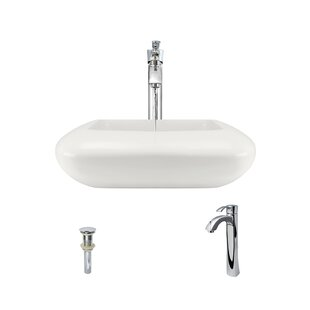 MR Direct Pillow Top Vitreous China Square Vessel Bathroom Sink with Faucet