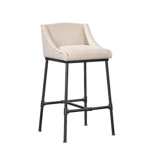 Pipe Linen & Iron Bar Stool by Furniture Classics