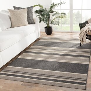 Soltis Stripes Gray/Beige Indoor/Outdoor Area Rug