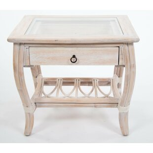 Bay Isle Home Presley Glass Top End Table with Drawer