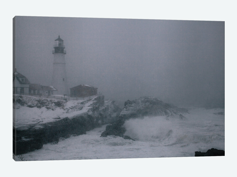 LIGHTHOUSE STORM BLACK WHITE MODERN CANVAS PRINT READY TO HANG