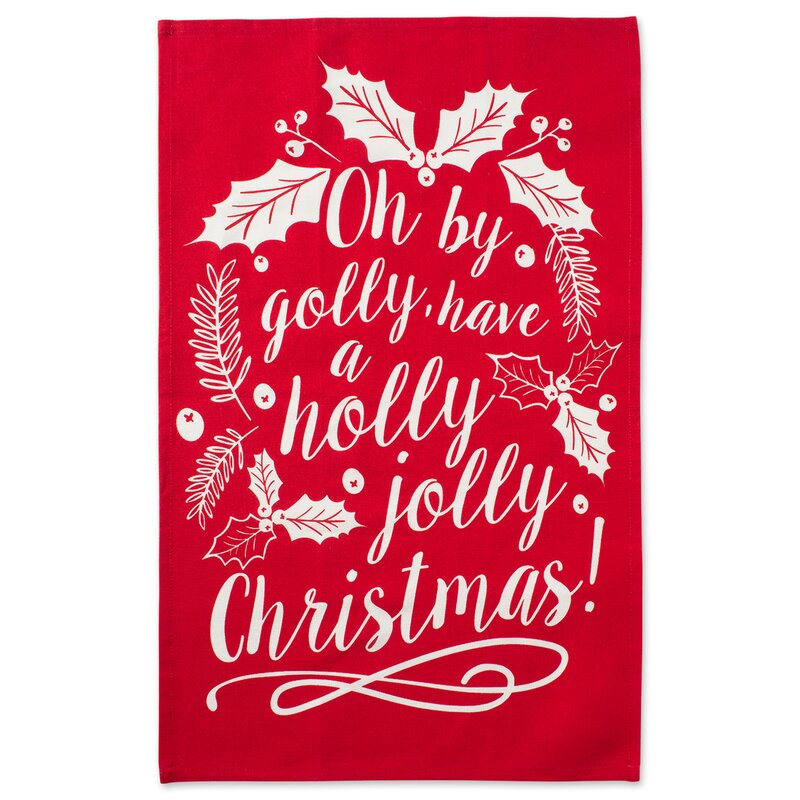 Asst Boughs of Holly Printed 2 Piece Dish Cloth Set