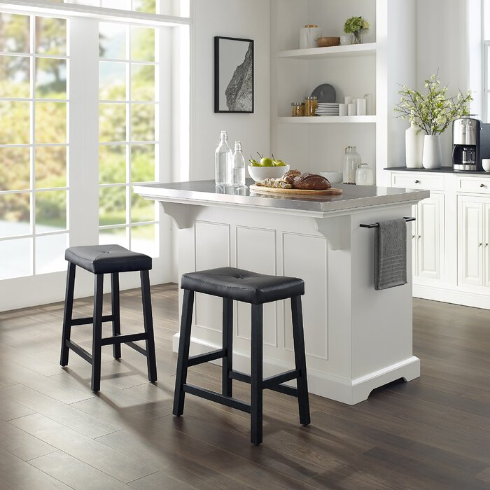 Amazing Gael Island W Uph Saddle Stools Kitchen Island 2 Counter Height Bar Stools Pabps2019 Chair Design Images Pabps2019Com