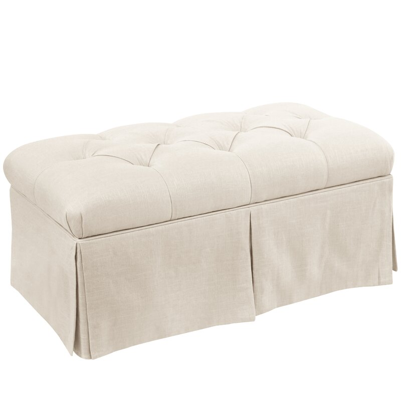 High Quality Craven Tufted Linen Skirted Storage Bench