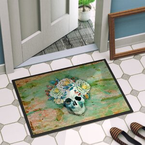 Skull with Flowers Indoor/Outdoor Doormat