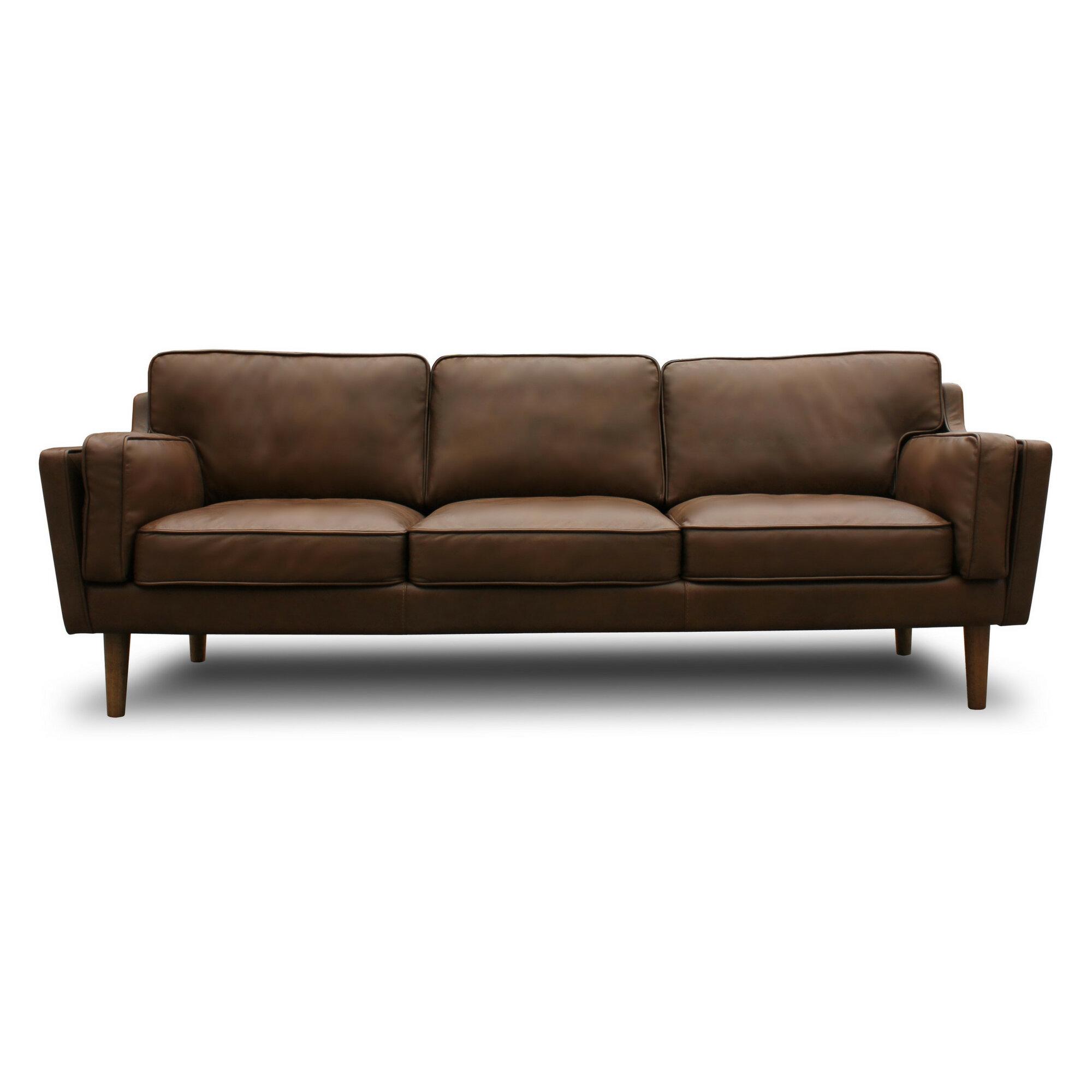 Warren Mid Century Modern Leather Sofa & Reviews | Joss & Main