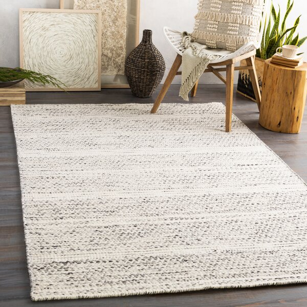 Maes Handwoven Flatweave Wool Cream/Black Area Rug by Joss & Main