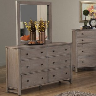 Burgundy 6 Drawer Dresser with Mirror By Lark Manor