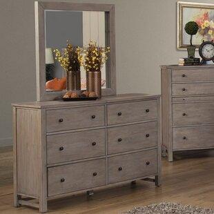 Burgundy 6 Drawer Dresser with Mirror By Lark Manor