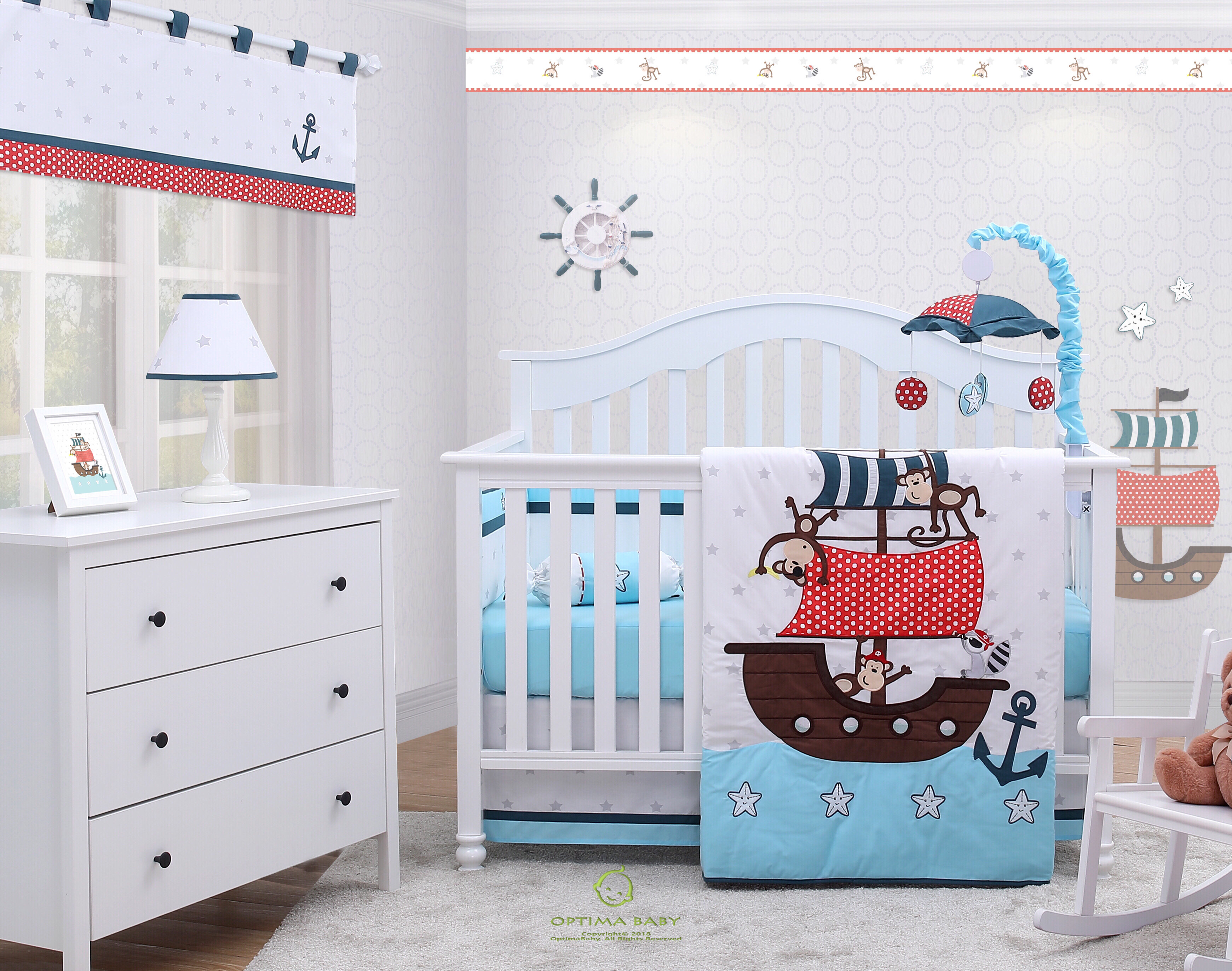 Little Bedding by NoJo Newborn Boy/'s Play Time 4-Piece Crib Bedding Set