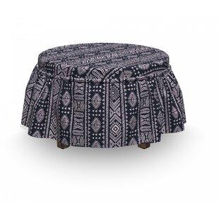 African Vertical Art Borders 2 Piece Box Cushion Ottoman Slipcover Set by East Urban Home