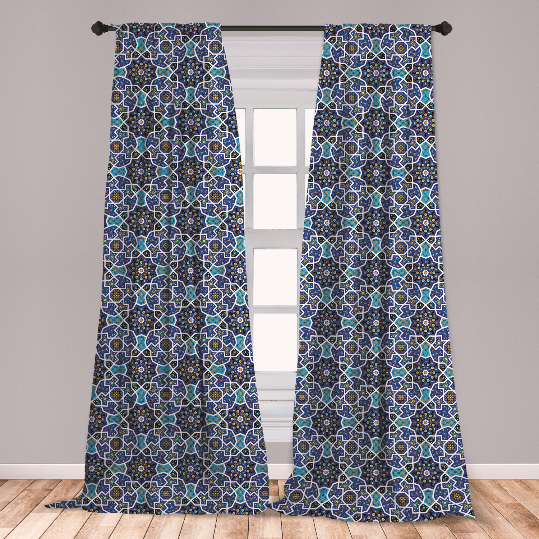 East Urban Home Moroccan Geometric Room Darkening Rod Pocket Curtain Panels Wayfair