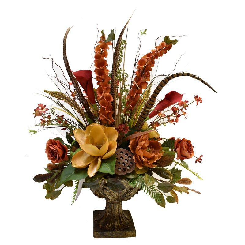Floral Home Decor Grande Silk Flower Arrangement In Decorative Vase Reviews Wayfair